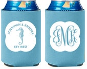 100 Custom Wedding Can Coolers - Beach Seahorse Wedding Favors - Engagement Party Favors - Destination Wedding- Seashell Can Coolers