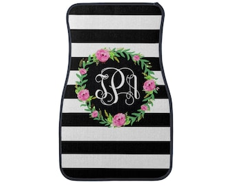 Personalized Car Mats, Monogram Floral with Stripes Car Mats, Monogrammed Floor Mats, Car Accessories, New Driver Gift