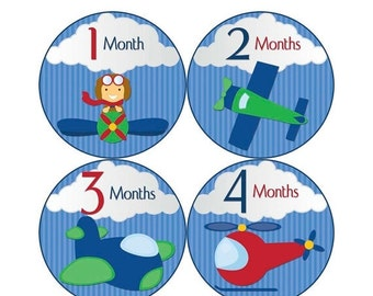 Baby Announcement, Monthly Baby Stickers, Monthly Baby Photos, Baby Gift, Baby Month Stickers, Monthly Stickers, Airplane (B107)