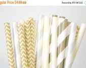 ON SALE Paper Straws . Champagne Gold Silver Chevron . new years eve / bridal shower decorations / mason jar buffet table / wedding party de