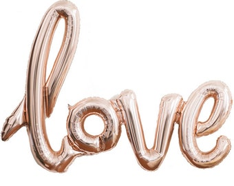 Rose Gold Love Balloon Garland - Blush Pink and Gold Wedding Decor, Bachelorette Party Decoration, Bridal Shower Photo Booth, Engagement