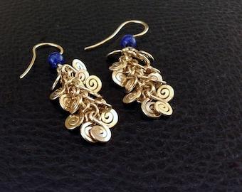 14k gold filled earrings, lapis lazuly gold chandelier, gold dangle chandelier earring, blue stone gold earring, handcrafted spiral cascade