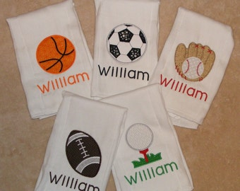 Personalized Sports Burp Cloth Set