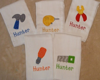Personalized Burp Cloth SINGLES - Tool Time