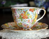 Royal Ardalt Teacup, Bone China Footed, Chintz Tea Cup and Saucer 13526