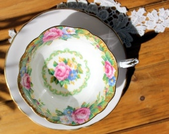 MISMATCHED Paragon, Bone China, Tea Cup by Appointment, Tapestry Rose, Vintage Tea Cups 12935