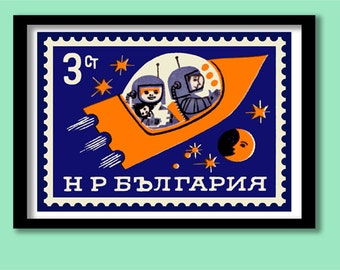 Space Poster. Children's rocket print . Postage stamp print . Space wall art. Rocket poster. A3 print. Playroom wall art.