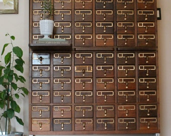 Reserved for Darla, Dewey Decimal....Vintage Library Card Catalog File 72 Drawers, Library File, Card Catalogue, Card File