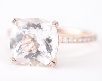 CERTIFIED - GIA Certified Huge Cushion Light Peach Pink Morganite & Diamonds Candy Ring 14K Rose Gold