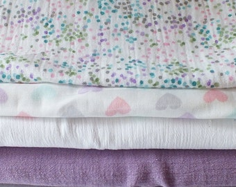 Muslin and Burp Cloth Set - Lilac and White Muslin Swaddlers with 2 Burp Cloths - Great Baby Shower Gift Idea - New Baby Gift