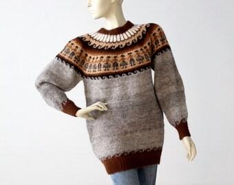 vintage fair isle sweater, alpaca pullover knit jumper