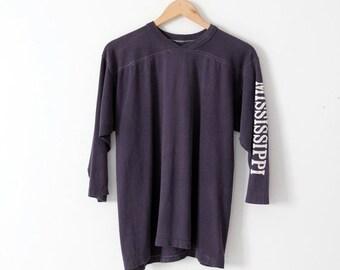SALE vintage Mississippi t-shirt, navy quarter sleeve tee