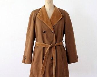 SALE vintage 70s trench, brown car coat, cord trim jacket