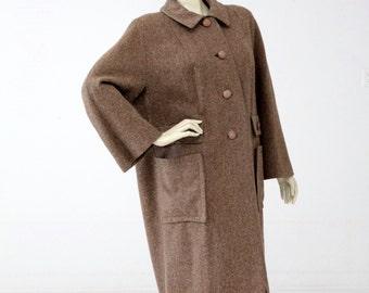 1950s wool swing coat, vintage tweed winter coat, oversize coat