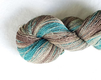 Gradient Silk Yarn, 395 yards, Recycled Yarn, Silk Thread, Brown Beige, Teal, Hand Dyed, Lot #23
