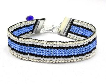 Thin Blue Line Bracelet - Blue Lives Matter Bracelet - Support Law Enforcement Bracelet - Bead Loom Bracelet - Custom Order