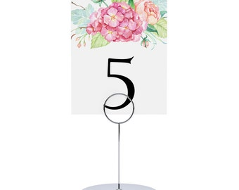 Table Number, Wedding, Dinner, Bridal Shower, Luncheon, Tea Party, Number Cards - Bloomy Hydrangea, 3.5 x 4.75 Inch