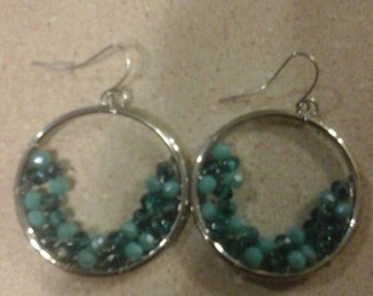 Blue moon hoop earrings