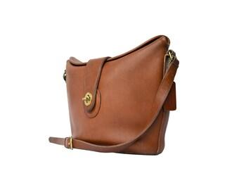 Vintage Brown Leather COACH Bag, Leather Crossbody Bag, Camel Coach Purse 1970s Coach Shoulder Bag