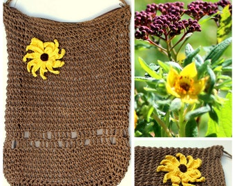 1 Flower crochet yellow to decorate your bag