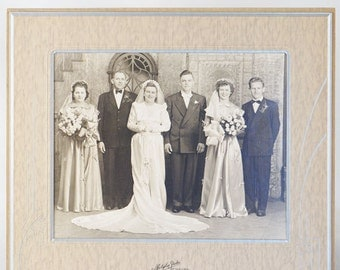 1940s Photograph Black and White Wedding Party Photo