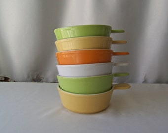 Vintage Soup Bowls Pastel Collection Stacking Pottery Bowls Vintage 1980s