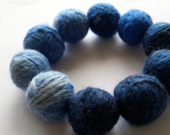 Hand Felted Fine Merino Wool Adults Blue Beaded Bracelet 'Oceans'