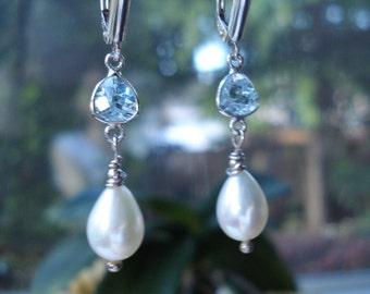 Light Blue Topaz & Pearl Earrings