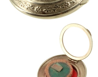 "Vintage Deco Richard Hudnut Compact ""Three Flowers"" Double  Mirror Rouge Powder"