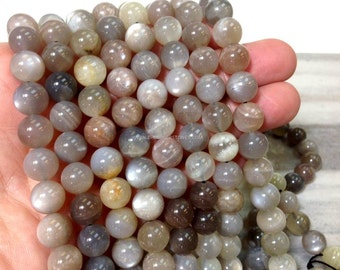 10 MM Natural Blood Moonstone Smooth Round Beads 1.1 mm hole (MJSR1602W60)