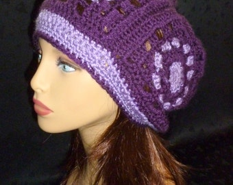 Slouch Beanie, Slouchy Beret, Granny Square Slouch Hat - Hand Crochet - Dark and Light Purple