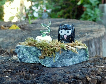Mini Halloween Scene, Glass Pumpkin/Owl/Glow In The Dark Eyes/ReadyTo Ship