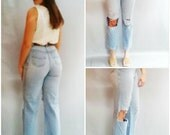 Vintage Faded Distress Jeans Light Wash Ripped Boyfriend jeans  Denim Straight Leg Cropped length Blue Jeans 80s paper thin