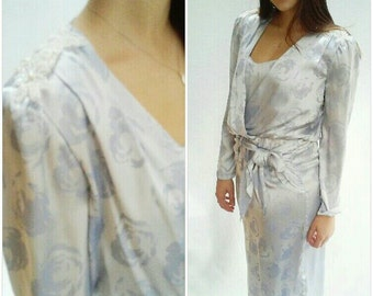 80s METALLIC Party Dress Damask Sequin Beaded ICY BLUE Cocktail Dress,  Midi length