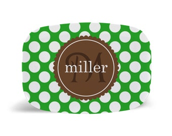 Personalized Melamine Platter: Polkie Dots