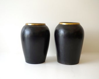 Black Ceramic Pottery Large Vase Black and Gold Shipping Included in the U.S.