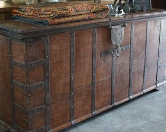 Rustic Sideboard Chest / Console / Teak / Metal Strapping / Shipping Included