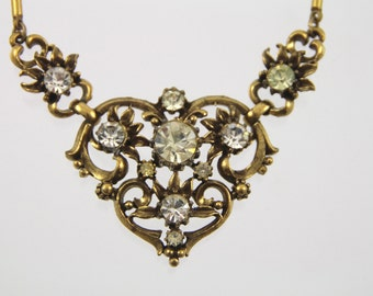 Circa 1948-1955 Vintage Coro Antique Gold Tone & Rhinestone Necklace Pendant