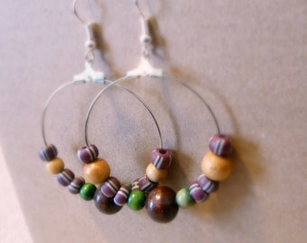 African Style Clay Bead Hoop Earrings, Tribal Jewelry, 1.5 Inch Silver Hoop Earrings, Surgical Steel Ear Wires