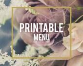 Printable Menu - Any Existing Eden Wedding Studio Design