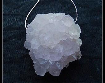 Drusy Amethyst Gemstone Pendant Bead,38x35x16mm,27.3g