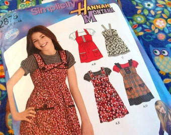 Simplicity Pattern 2878, girl's jumper pattern, Hannah Montana Pattern,  dress pattern