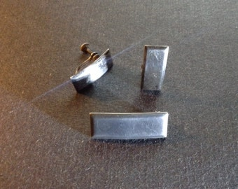 Vintage US Army Sterling Silver 1st Lieutenant Bar Pin and Earrings