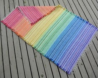Hand Woven Rainbow Rug - 3'  x 5'