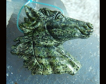 New,Carved Green Zebra Jasper Horse Head Pendant Bead,42x39x7mm,17.4g