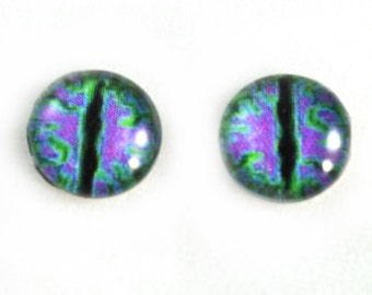 10mm Glass Eyes, Purple and Green, Glass Dragon Eyes, Eye Cabochons, Purple Dragon Eyes, Jewelry Making, Small, Taxidermy Eyes, Glass Eyes