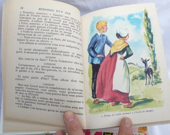 Illustrated Children's book , Donkey Story, memories diary, 1930 back to school, French books, france library, color illustartions
