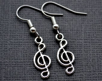 Silver Treble Clefs . Earrings . Music Notes Collection