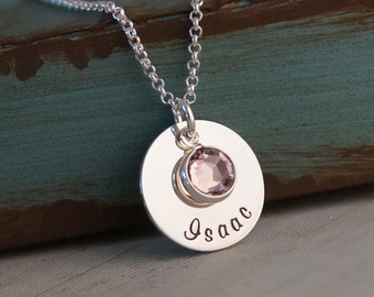 Personalized Jewelry - Hand Stamped Mommy Necklace - Sterling Silver -  Flat Name Tag with Swarovski Crystal Birthstone