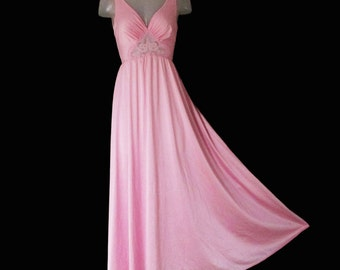 Vintage Olga Nightgown - PINK Bodysilk Big Sweep Fitted Bodice - 70s Unique Style 9288 - M - Valentine's day